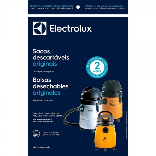 Saco descartável para aspirador de pó Electrolux A20, A20L, A20S, GT300 e GT30N